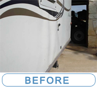 AeroLite Travel Trailer sidewall delamination caused by water damage... Contact McQueeney Collision, Inc. for full vehicle inspection, check all seals with our service department