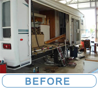 Pre-Owned fifth wheel with water damage in slide... McQueeney Collision, Inc. removed the slide and did the work correctly