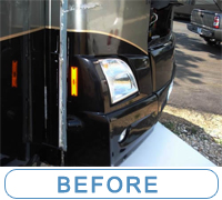 Front cap of Motorhome, Removing of Front Plastic Protective Coating and the end result ... McQueeney Collision Inc. Central Texas